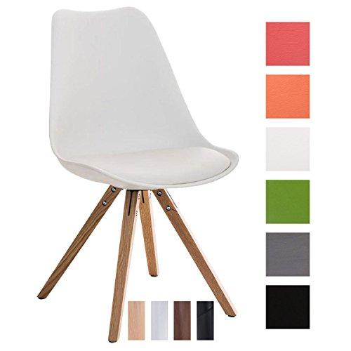 CLP Design Retro-Stuhl PEGLEG SQUARE mit hochwertiger Polsterung und pflegeleichtem Kunstlederbezug | Schalenstuhl mit Holzgestell und einer Sitzhöhe von 46 cm | In verschiedenen Farben erhältlch Weiß, Holzgestell Farbe natura, Bein-Form eckig