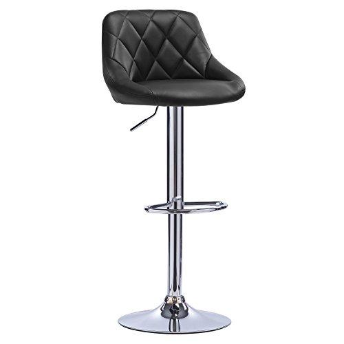 WOLTU BH23sz-1 1er Barhocker Barstuhl, leichte reinige Kunstleder, gute gepolsterte Sitzfläche , Höhenverstellbar, 360° Drehbar, Farbwahl, in Schwarz