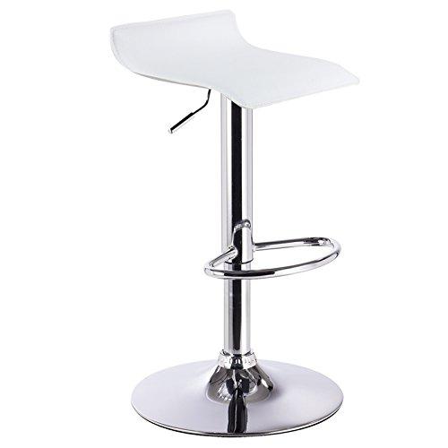 WOLTU BH11ws-1 Design Hocker Barhocker, stufenlose Höhenverstellung, verchromter Stahl, Antirutschgummi, pflegeleichter Kunstleder, gut gepolsterte Sitzfläche, Weiss