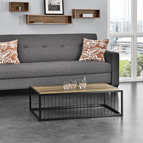 [en.casa]® Couch-Tisch Design MDF - Holzfarben - 100x60x30cm - Metall Gestell - Hicgucker Beistelltisch Wohnzimmer