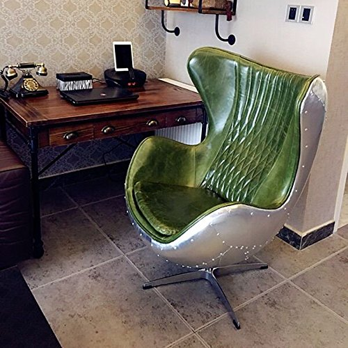 Pre-Order grün Leder/Aluminium eggchair (Replica) Drehstuhl Sessel Aluminium–Club Stühle–Lounge Stuhl