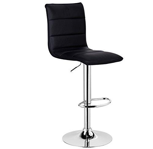 WOLTU BH15sz-1 1 x Barhocker Design Bar Hocker , 1 Stück Barstuhl , stufenlose Höhenverstellung , verchromter Stahl , pflegeleichter Kunstleder , gut gepolsterte Sitzfläche , Antirutschgummi , Schwarz