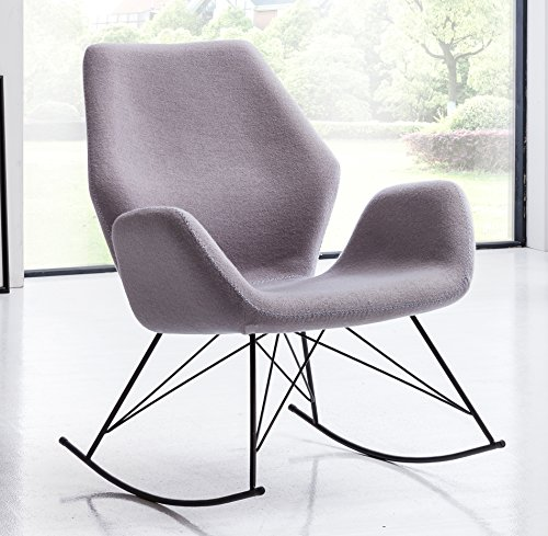 SalesFever® Stilvoller Schaukelstuhl Lola, in Hellgrau, Designer-Stuhl mit Stoffbezug, gepolstert, Retro-Look, sesselförmiger Sitz, bequemer Sitzkomfort