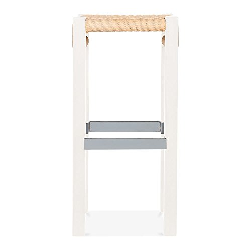 Cult Design Mayfair Hocker - Weiß / Natur Sitz 65cm