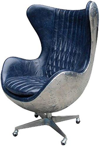 Casa Padrino Echtleder Egg Chair Blau/Silber 87 x 77 x H. 116 cm - Luxus Drehsessel
