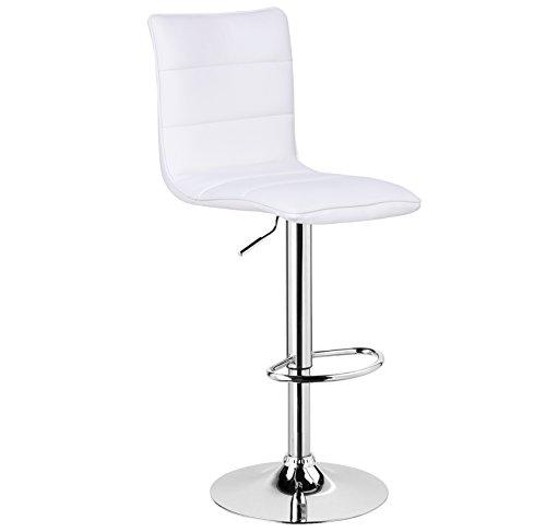 WOLTU BH15ws-1 1 x Barhocker Design Bar Hocker , 1 Stück Barstuhl , stufenlose Höhenverstellung , verchromter Stahl , pflegeleichter Kunstleder , gut gepolsterte Sitzfläche , Antirutschgummi , Weiß