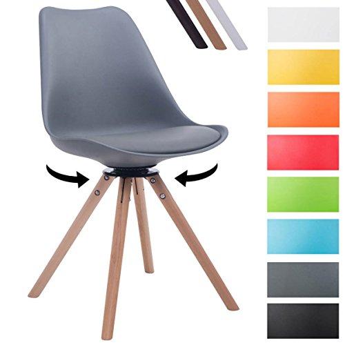 CLP Design Retro-Stuhl TROYES RUND mit Kunstlederbezug und hochwertiger Sitzfäche | 360° drehbarer Stuhl mit Schalensitz und massiven Holzbeinen | In verschiedenen Farben erhältlich Grau, Holzgestell Farbe natura, Form rund