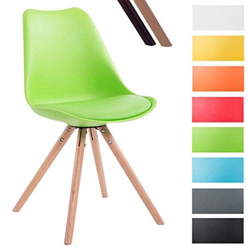 CLP Design Retro-Stuhl TOULOUSE RUND mit Kunstlederbezug und hochwertigem Sitzpolster | Kunstoff-Lehnstuhl mit Holzgestell | In verschiedenen Farben erhältlich Grün, Holzgestell Farbe natura, Bein-Form rund