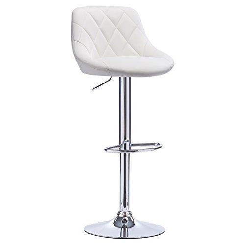 WOLTU BH23ws-1 1er Barhocker Barstuhl, leichte reinige Kunstleder, gute gepolsterte Sitzfläche, Höhenverstellbar, 360° Drehbar, Farbwahl, in Schwarz