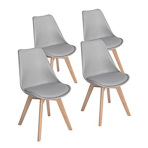 EGGREE 4er Set Esszimmerstühle mit Massivholz Buche Bein, Retro Design Gepolsterter lStuhl Küchenstuhl Holz, Grau