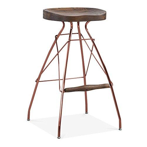 Cult Design Atlas Metall Barhocker, Solid Elm Holz Sitz, Kupfer 76cm 76cm Dunkelbraunes Holz