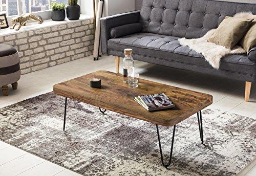 Wohnling Couchtisch Massiv-Holz Sheesham 115 cm breit Wohnzimmer-Tisch Design Metallbeine Landhaus-Stil Beistelltisch Natur-Produkt Wohnzimmermöbel Unikat modern Massivholzmöbel Echtholz rechteckig