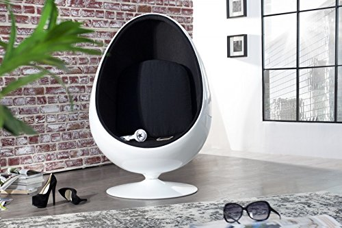 Casa Padrino Designer Egg Chair Sessel Weiß/Schwarz - Lounge Club Sessel