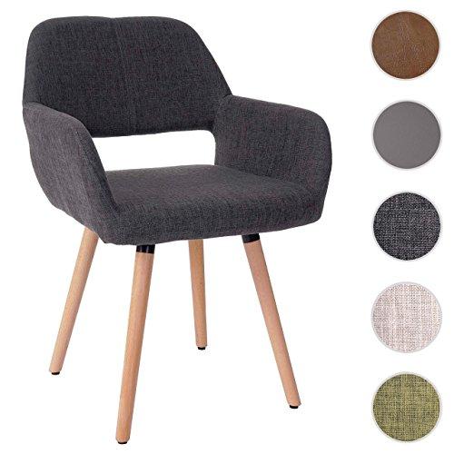 Mendler Esszimmerstuhl HWC-A50 II, Stuhl Lehnstuhl, Retro 50er Jahre Design ~ Textil, grau