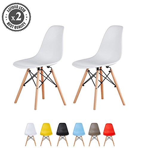 MCC Retro Design Stühle LIA im 2er Set, Eiffelturm inspirierter Style für Küche, Büro, Lounge, Konfernzzimmer etc., 6 Farben, KULT (weiß)