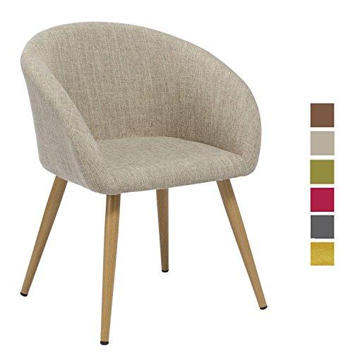 Esszimmerstuhl aus Stoff (Leinen) Creme Farbauswahl Retro Design Stuhl mit Rückenlehne Beige Metallbeine Holzoptik WY-8023
