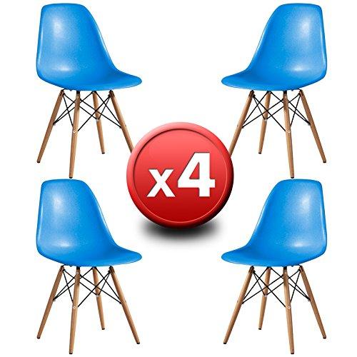 Pack 4Stühle Design ST004blau, EUROSILLA. Stühle inspiriert von Eames DSW Design. Hochwertige Buchefüße Stil Wooden und Sitze in robustem Kunststoff ABS Blau.