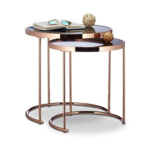 Relaxdays Satztische rund, Chromgestell, 2er Set, modernes Design - Milchglas, Couchtisch Metall, Beistelltische, kupfer