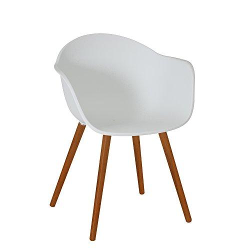 greemotion 129431 Gartenstuhl DERBY aus Kunststoff Stuhl mit Holzbeinen für Garten, Balkon & Terrasse-Gartensessel mit Armlehne-Lounge Sessel modern, Weiß, 5,2 x 6 x 8 cm