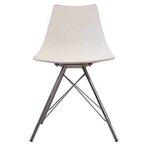 Designer-Stuhl im skandinavischen Retrostil aus Kunststoff, mit Beinen aus Metall, Chrom Beine, weiß, H: 82cm W: 47.5cm D: 44cm. SEAT HEIGHT 48CM