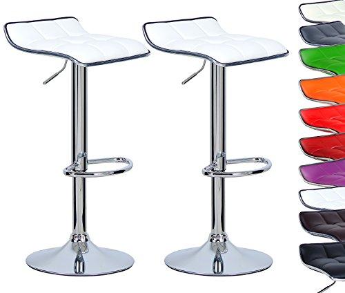 WOLTU BH28ws-2 2x Barhocker 2er Set Barstuhl Tresenhocker, aus hochwertigem Kunstleder, verchromter Stahl, Antirutschgummi,gut gepolsterte Sitzfläche, Weiss