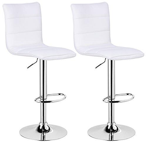 WOLTU BH15ws-2 Design Hocker mit Griff , 2er Set , stufenlose Höhenverstellung , verchromter Stahl , Antirutschgummi , pflegeleichter Kunstleder , gut gepolsterte Sitzfläche , weiß