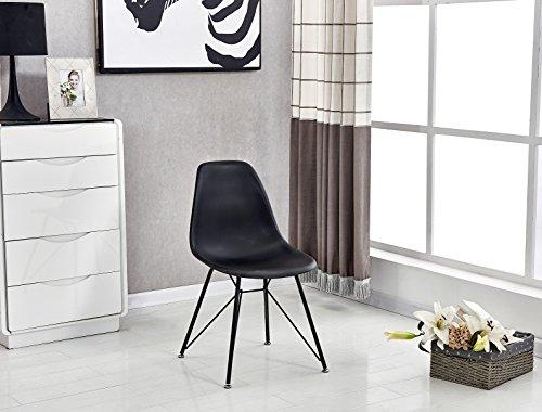 P & N Homewares® Valentina Eiffelturm inspiriert Stuhl aus Kunststoff Retro Weiß Schwarz Grau Esszimmerstuhl Büro Stuhl Lounge Black with Black Legs