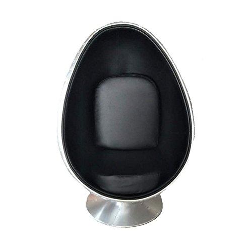 MONCONTAINER Sessel Ei Egg Chair Flieger Leder schwarz groß