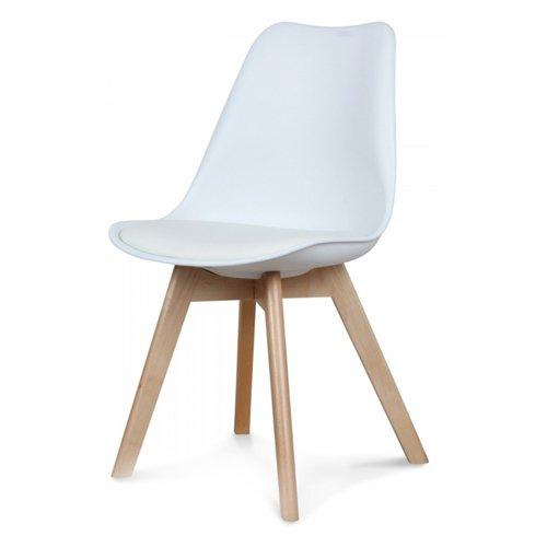 Moderne Retro Stuhl Design Esszimmer Wohnzimmer Weiß Stuhl Holz 80x50x49cm