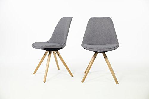 Out & Out Original orson-x2Set von zwei Stoff gepolsterten Eames Stil Stühle, grau, h.83X W.49X d.51cm