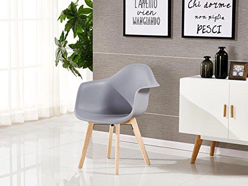 P & N Homewares® Rico DA Tub Stuhl skandinavisch Esszimmerstuhl Bürostuhl Wohnzimmer Stuhl in Weiß Dunkelgrau Hellgrau Weiß und Schwarz Retro Skandinavischer Stuhl Moderner Moderner Stuhl