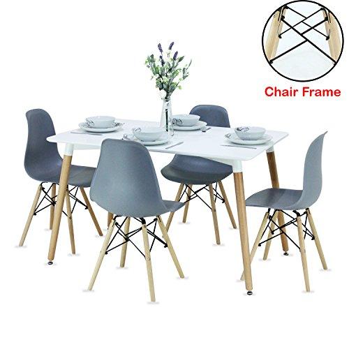 P & N Homewares®, Romano Moda Esstisch-Set mit Retro-inspiriertem Stuhl und Tisch, Farbe weiß oder grau, mit modernem Esstisch-Set