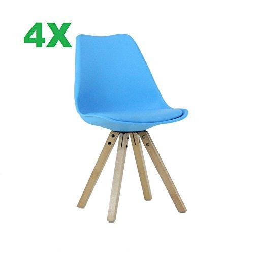 P & N Homewares® (Satz von 4) Sofia Eiffelturm inspiriert Stuhl aus Kunststoff Retro Weiß Schwarz Grau Rot Gelb Pink Grün Blau weiß Skandinavischen Stuhl
