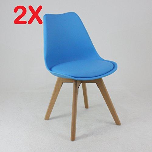 P & N Homewares® (Set von 2) Lorenzo Tulip Stuhl Kunststoff Retro Esszimmer Stühle weiß schwarz grau rot gelb pink grün blau