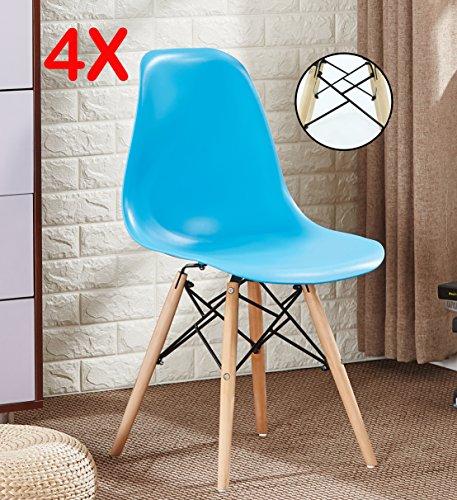 P & N Homewares® Set von 4Romano DS Moda Stuhl Kunststoff Retro Esszimmer Stühle weiß schwarz grau rot gelb pink grün blau