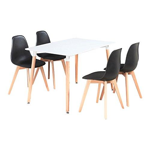P&N Homewares Rico Esstisch und Stühle Set 4Stühle und 1schwarz Esstisch Retro und Moderne Esszimmergarnitur weiß schwarz und grau Stühle