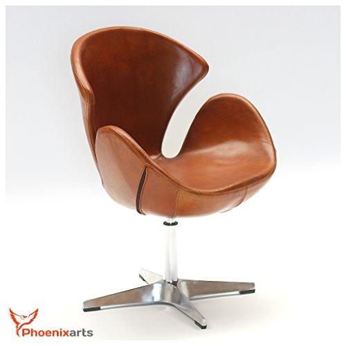 Phoenixarts Echtleder Drehsessel Vintage Ledersessel Braun Design Leder Sessel Loft Clubsessel Möbel NEU 535