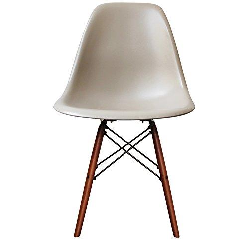 Retro-Stuhl, Kunststoff mit Holzbeinen, skandinavischer Stil