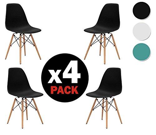 due-home (Nordik)–Pack 4Stühle Tower, Stuhl Replica Eames Finish in Buche, Maße: 47cm breit x 56cm tief x 81cm Höhe