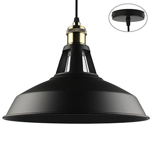 B2ocled Industrielle Vintage Retro Pendelleuchte Hängeleuchte mit schwarzer Metallschirm, für Wohnzimmer Esszimmer Restaurant Keller Untergeschoss usw.