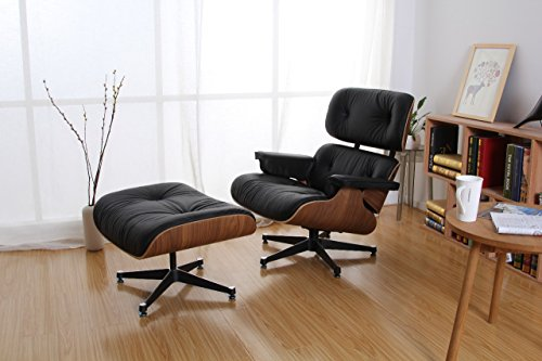 Brio Home Works Walnut and Black Leather Eames Style Lounge Chair & Ottoman