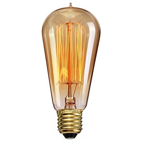 Edison Glühbirne, Elfeland 6x E27 Antike Vintage Dekorative Glühbirne 40W ST58 Edison Bulb (40W, 220V, Handgewickelt, Dimmbar) Ideal für Nostalgie und Retro Beleuchtung