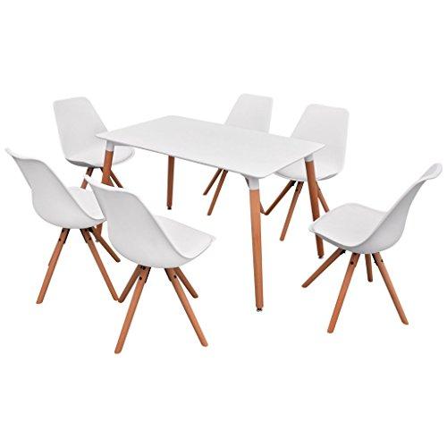 Festnight 7-teilige Set Essgruppe mit 1 Esszimmertisch und 6 Essstühle Küchengruppe Retro-Chic Esszimmergarnitur Sitzgruppe Weiß