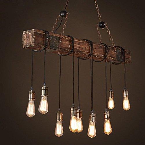 Kronleuchter Pendelleuchte Retro Industrial Vintage Holz Metall Höhenverstellbar E27*10 Hängelampe/Hängeleuchte