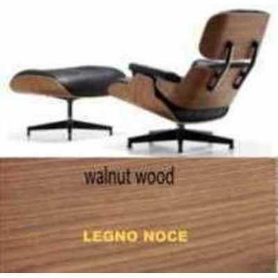 Sessel und Sitzsack Kunstleder Eames Lounge Chair Style Echt Leder genarbt schwarz–Holz Walnuss