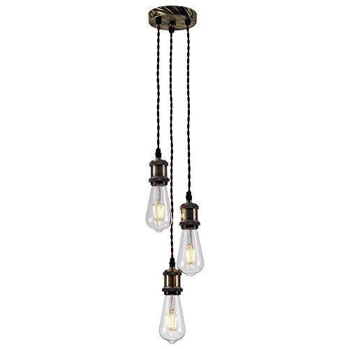 Splink Vintage Retro Pendelleuchten Hängelampe 3-Flammig E27 Edison Lampenfassung DIY retro Industrie-Stil höhenverstellbar Kronleuchter(Ohne Glübirne)