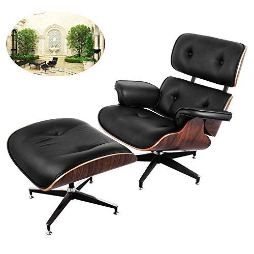 Ultraselect Lounge-Stuhl und Fußlehne im Set, 7-lagiges Walnuss-Furnier, Eames-Stil, hochelastische Polyurethan-Schaum-Kissen, Bürostuhl mit Basis aus gegossenem Aluminium