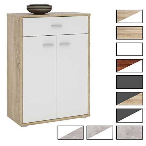 CARO-Möbel Kommode Sideboard Schrank Tommy in 10 Verschiedenen Farben, Anrichte Highboard mit Schublade und 2 Türen