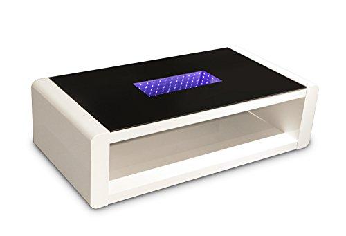 CAVADORE Couchtisch Hutch/Moderner, Niedriger Tisch mit Schwarzem Glas und 3D-LED-Beleuchtung/mit Akku und 5m Ladekabel/mit Ablage/Hochglanz Weiß / 120 x 60 x 35 cm (L x B x H)