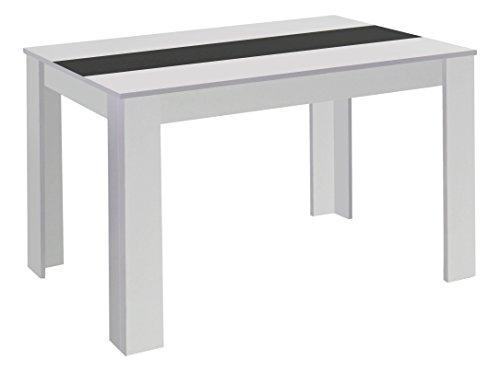 CAVADORE Esstisch Nico/Moderner, praktischer Küchentisch 160 x 90 cm in Melamin Weiß mit Mittelplatte in Weiß Oder Schwarz/Esszimmertisch in Weiß/160 x 90 x 75 cm (L x B x H)